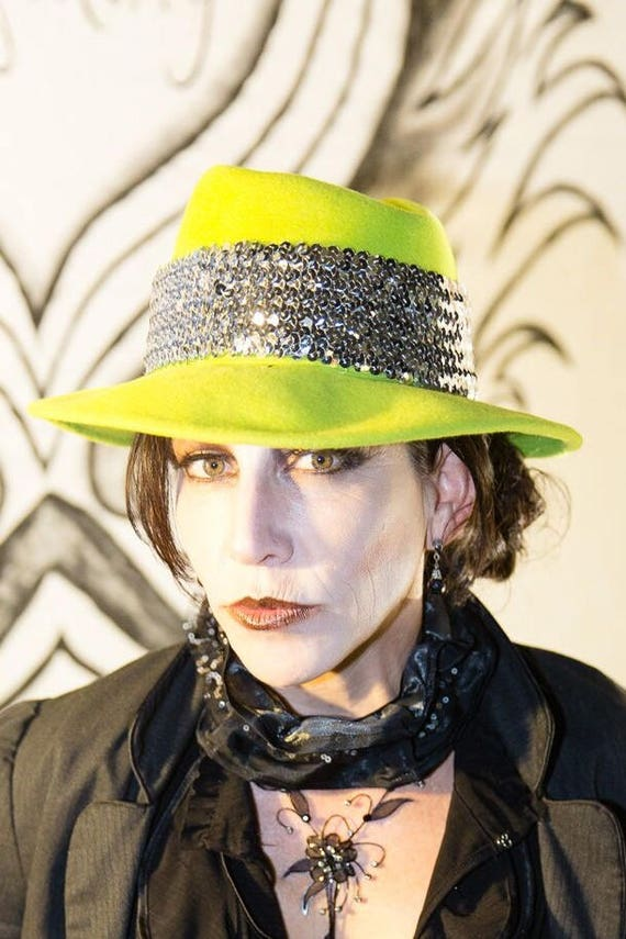 ca825c28311 Lime Green Hand-Blocked Felt Fedora with Silver Sequined Hat
