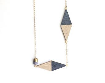 Grey and Beige Necklace - Leather Necklace - Minimalist Necklace - Dainty Necklace - Leather & Brass Necklace - Geometric Necklace
