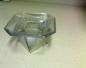 Glass Candle Holder Dimensional - Shaped Clear See Through Thick Cut Glass Candle Holder Vintage Collectible