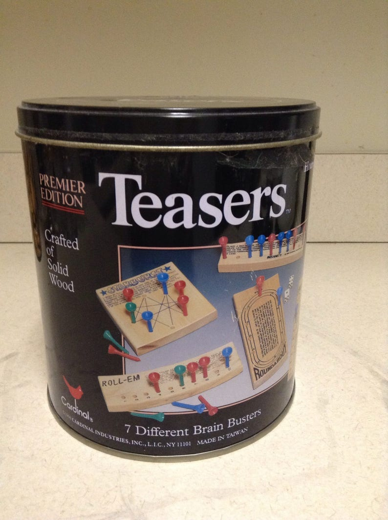Teaser/'s Brain Busters Game Set  7 Wooden Brain Busters in a Tin Can by Cardinal Vintage Collectible