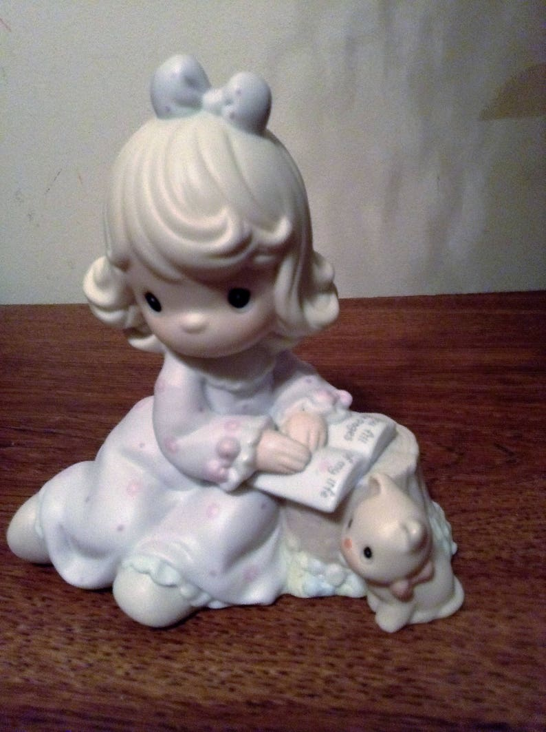 Precious Moments Figurine  You Fill The Pages Of My Life  A Girl With A Kitten Porcelain Bisque Enesco #530980 Collectible