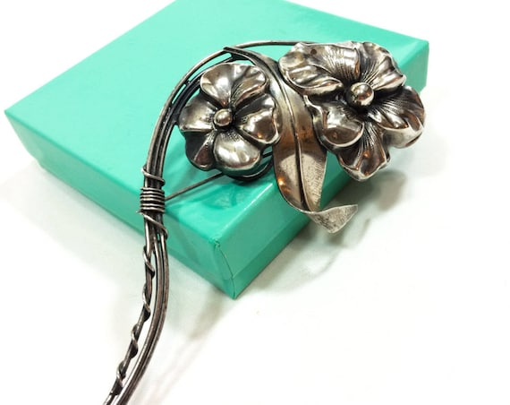 Large Sterling Silver Flower Brooch, Silver Repousse Floral Bouquet Brooch, 4 3/4 Inches Long, 1940s  Vintage Retro Statement Jewelry