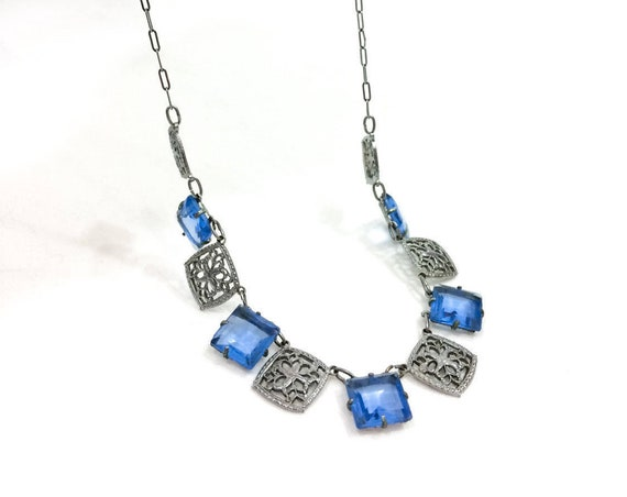 Blue Crystal Necklace, Rhodium Silver Floral Filigree, Open Back Princess Cut Crystals, Paper Clip Chain, 1920s Art Deco Antique Jewelry
