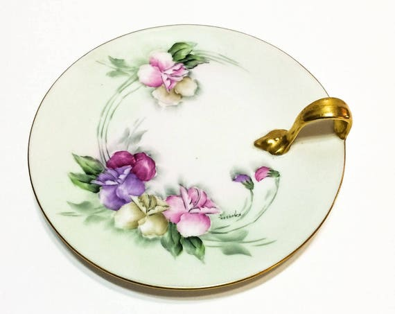 Hand Painted Handled Lemon Nappy Plate,T&V Limoges, Green Pink Purple Sweet Peas Shabby Chic, Signed1900-1909 Antique Porcelain China