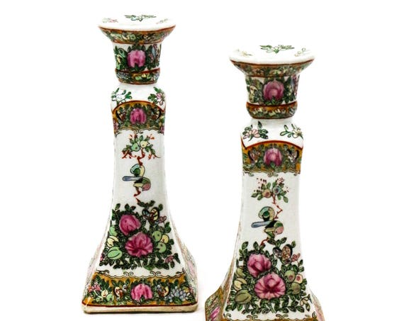 Chinese Canton Rose Medallion Candlesticks, Famille Rose Candle Holders, Flowers Birds Foliage, Unmarked Antique Chinese Porcelain