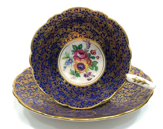 Royal Stafford Cobalt & Floral Gold Chintz Tea Cup Saucer, Pink Yellow Roses Flowers, High Tea English Teacup, Rare 1950s Vintage China
