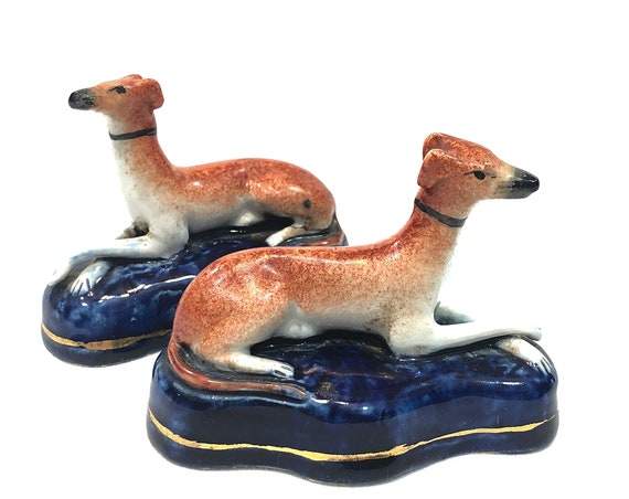 Antique Staffordshire Dog Figurines, Pair Red Greyhound Whippet Dogs, Crossed Legs Cobalt Pedestal, Small English Figurines 1800s
