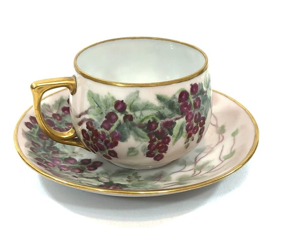 Hand Painted Tea Cup Saucer, Purple Berries Currants,Gilded Handle Rims, MZ Altrohlau Czech China, Artist Signed 1940, Vintage Teacup