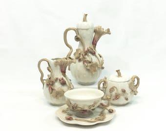 Antique Tea Set, Applique Vines Flowers Buds, Teapot Creamer Sugar Cup Saucer, Squash Gourd Shape, 1880s Aesthetic Movement, Moore Bros?