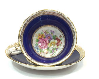 Cobalt English Tea Cup & Saucer, Hand Painted Roses Flowers, Gilded Foliate Motif, Grosvenor Bone China, High Tea, 1950s Vintage Teacup