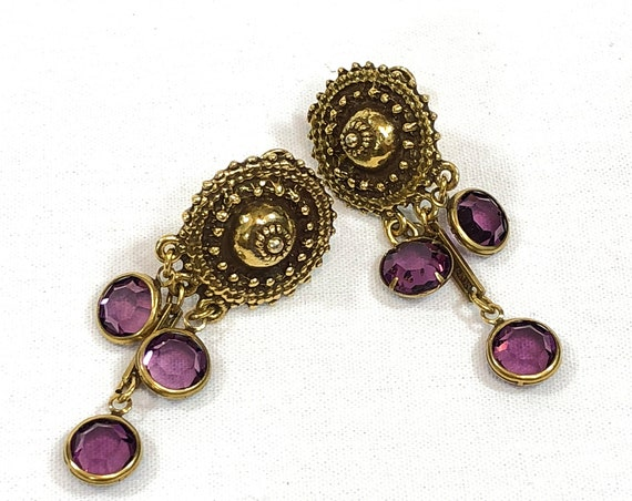Goldette Dangle Earrings, Goldtone Disc Purple Translucent Rhinestones, Etruscan Style Beading Faux Cannetille, 1960s Vintage Boho Jewelry