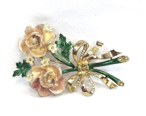 Reja Pink Rose Brooch, Blush Pink Green Enamel, Rhinestone Ribbon Bow, Faux Pearls & Goldtone 1940s Vintage Jewelry
