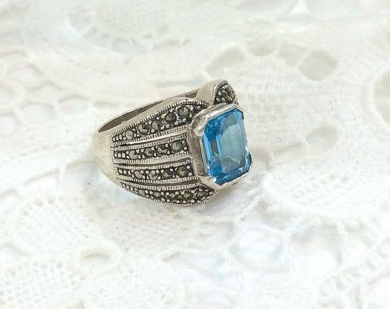 Chunky Sterling Blue Topaz Ring, Marcasite Rectangluar Stone, Size 6 3/4, November Birthstone, Vintage Gemstone Fashion Jewelry
