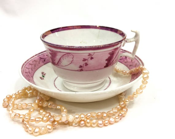 English Staffordshire Pink Lusterware Tea Cup Saucer, Mismatched, Flowers Fruits Sprigs, 1820s 1830s Antique Georgian Pearlware