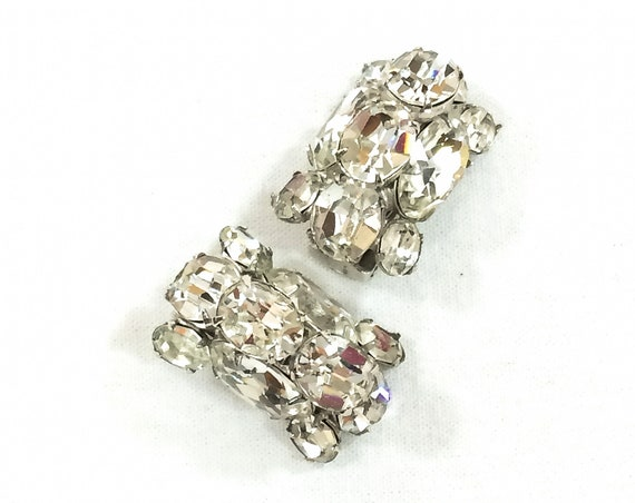Eisenberg Crystal Statement Earrings, Clear Headlight Rhinestones, Rhodium Silver, Hollywood Regency Bling, 1950s Vintage Wedding Jewelry