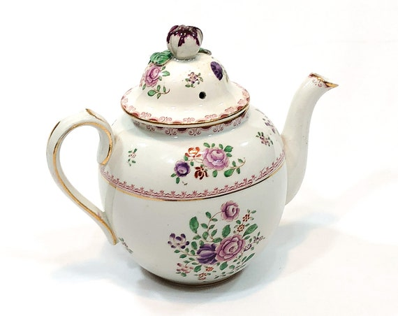 Antique Booths Silicon China Small Teapot, Hand Painted Cottage Flowers, Applique Lid, Made for Charles R. Lynde Boston, 1906 1927