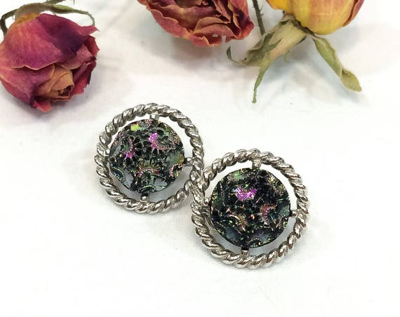 Sarah Coventry Roped Silvertone Button Earrings, Iridescent Molded Glass, Black Pink Green Floral Tapestry, Vintage Fashion Jewelry