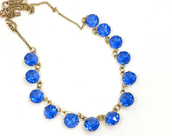 Art Deco Crystal Necklace, Round Open Back Blue Crystals, Choker Length 12K Gold Filled Chain, 1930s Vintage Occasion Wedding Jewelry