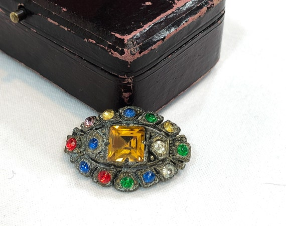 Art Deco Czech Glass Brooch, Small Gilded Silver Eye Shaped Pin, Square Cut Topaz, Red Blue Green Rhinestone, C Clasp, 1920s Antique Jewelry