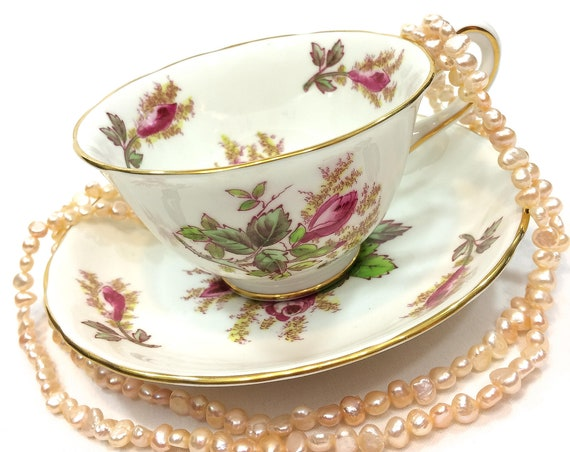 Royal Chelsea Moss Rose English Tea Cup, Pink Green Flowers Leaves, Garden Party Shabby Chic Bone China, 1950s Vintage Teacup