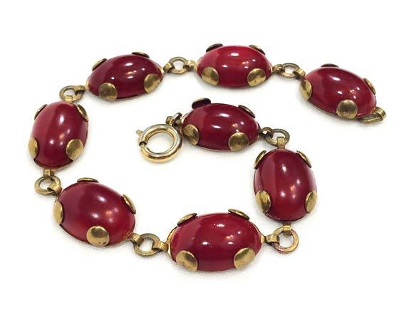 Art Deco Bracelet, Red Czech Glass Oval Cabochons, Gilded Brass Links, Geometric Style, Large Wrist, 1920s 1930s Antique Vintage Jewelry