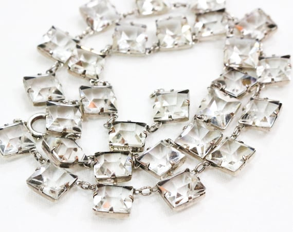Art Deco Crystal Necklace, Open Back Choker Length, Sterling Silver & Princess Cut Clear Crystals, 1930s Vintage Wedding Prom Jewelry