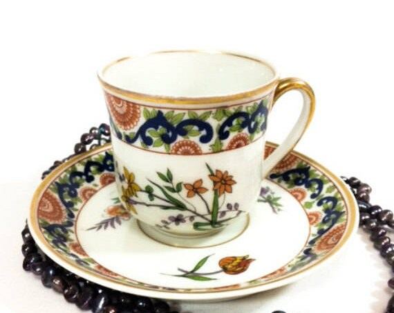 Antique Limoges Demitasse Cup and Saucer, M. Redon Limoges Bone China, Rust Blue Green, Flowers Floral Design, Art Nouveau 1900s