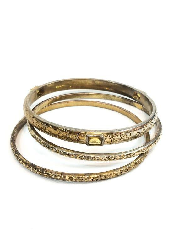 Ralph Lauren Gold Stacking Bangle Bracelets, Foliate Design, Rectangular Citrine Rhinestones, Set of Three, Vintage Designer Fashion Jewelry