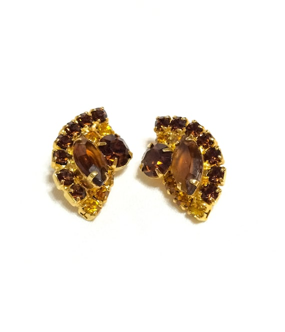 Crystal Pave Earrings, Topaz & Root Beer Rhinestones, Fan Demilune Shape, Brilliant Fall Colors, 1960s Vintage Mid Century Jewelry