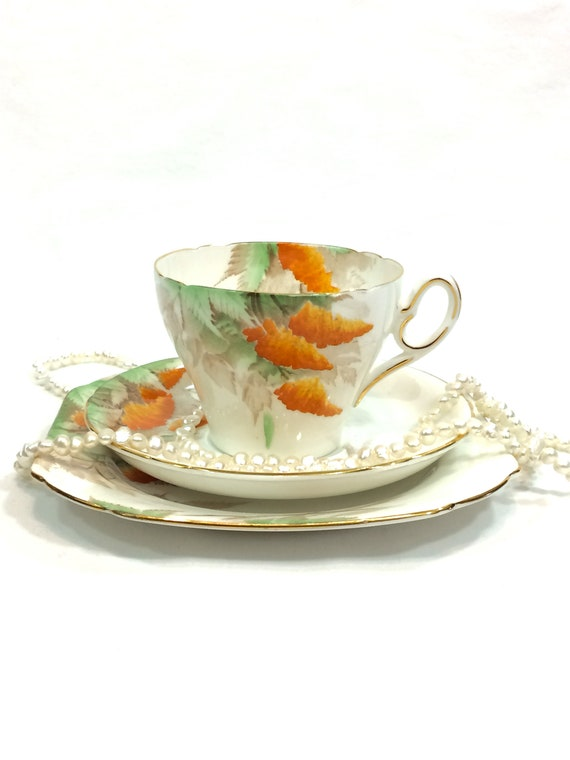 Shelley Art Deco Tea Cup Trio, Rare Wisteria Pattern, Orange & Green Leaves, Old Cambridge Shape, 1930s, Vintage Bone China English Teacup