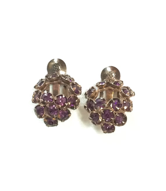 Small Purple Wreath Earrings, Crystal Rhinestone Flower Button Earrings, Vintage 1950s Wedding Bridal Fashion Jewelry