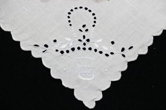 Six 6 Madeira White Napkins, Embroidered Flower Baskets, Eyelets & White on White, Scalloped Edges, 1920s 1940s, Vintage Estate Linens