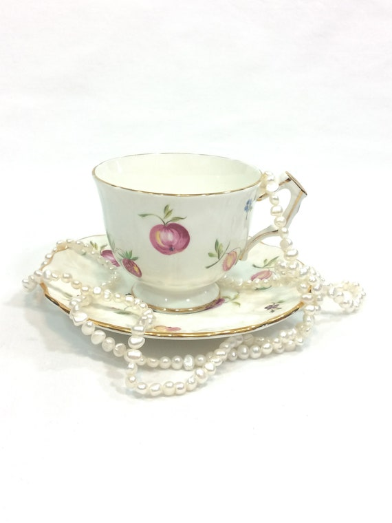 Aynsley Tea Cup and Saucer, Florida Pattern, Berries & Fruits, Shabby Chic Cottage Style Decor, Vintage Bone China Porcelain Teacup
