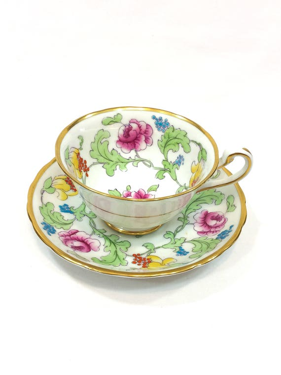Royal Chelsea Tea Cup Saucer, Persian Rose Pattern, Enamel Pink & Yellow Roses, English Bone China, Shabby Chic Tea Party, Vintage Teacup