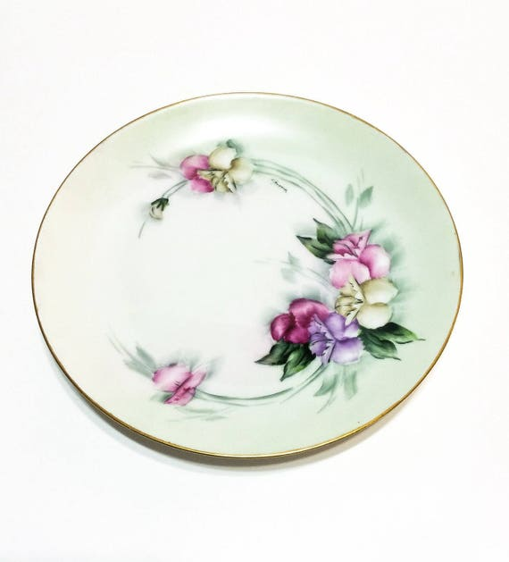 Hand Painted 8 Inch Plate, Favorite Bavaria, Pink Purple Sweet Pea Flowers, Shabby Chic, Signed F. Benson, 1900-1909, Antique Porcelain