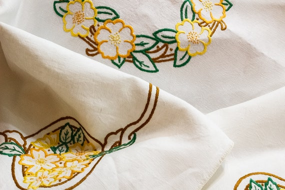Embroidered Tablecloth, Ivory Irish Linen, Hand Embroidered Orange Brown Yellow Fall Flowers, Cottage Style, Vintage English Linens