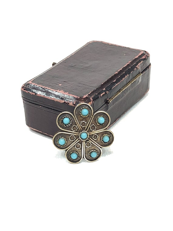 Fred Harvey Era Sterling Silver Turquoise Pin, Oxidized Radial Flower Motif Wire Work, Native American Southwestern Vintage Jewelry