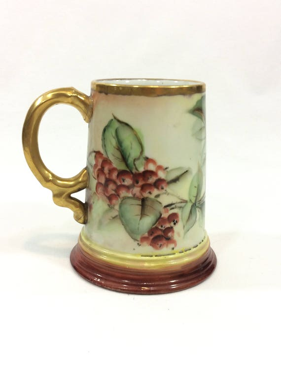 J P Limoges Hand Painted Tankard Mug, Berries & Leaves, Gilded Handle Rims, Red Brown Green, 1890 - 1932, Antique China Porcelain