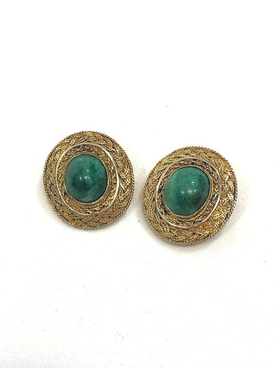 Sterling Eilat Earrings, Vermeil Braided Silver, Green King Solomons Stone, Gold Semiprecious Gemstone Clip On, Vintage Israeli Jewelry