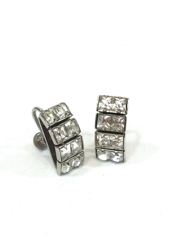 Linear Crystal Earrings, Geometric Channel Set Clear Rhinestones, Silvertone, Rectangular Art Deco Minimalist, Vintage 1940s Wedding Jewelry