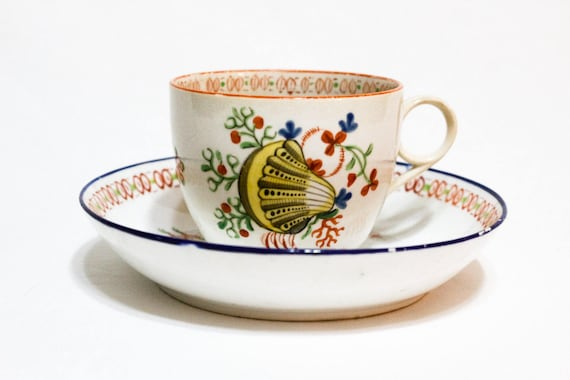 Antique English Married Tea Cup Saucer, Sea Shell Pattern No. 208, New Hall Bute Shape Cup Ring Handle, Georgian Era Porcelain, Early 1800s