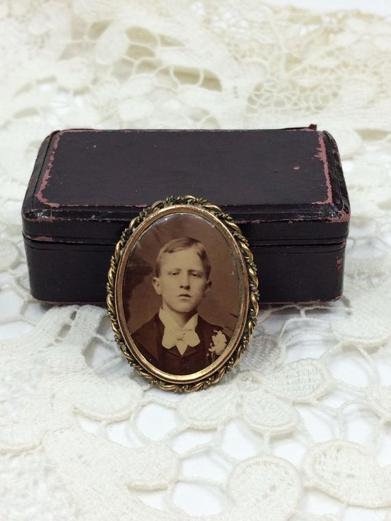 Victorian Photograph Pin, Oval Gold Twisted Frame, Sepia Photo, Young Man in Suit & Boutinniere, 1890s 1900s,  Antique Mourning Jewelry