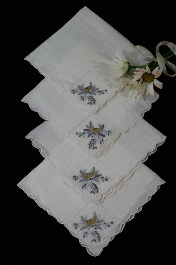 Sheer Batiste Napkins Tray Liners, Embroidered Organdy Insert, Yellow Gray Flower Foliate Motif, Set of Four, Vintage Linens