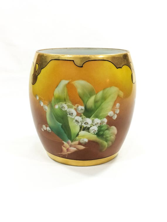 Hand Painted T&V Limoges Jardiniere, Lily of the Valley, Gilded Top, Arts Crafts Style, Robert France Studio, 1910s, Antique Porcelain