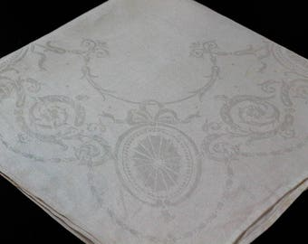 Eleven White Linen Damask Dinner Napkins Lapkins, Ribbon Flower Foliate Motif, 1940s 1950s, Weddings Occasions, Estate Vintage Linens