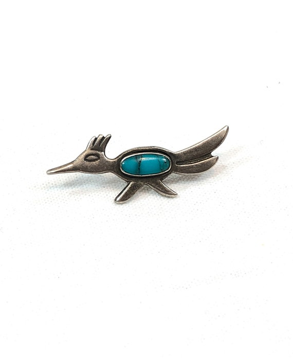 Sterling Silver Turquoise Road Runner Tie Tack, Bell Trading Post, Native American Southwestern Small Bird Pin, Vintage Tourist Jewelry