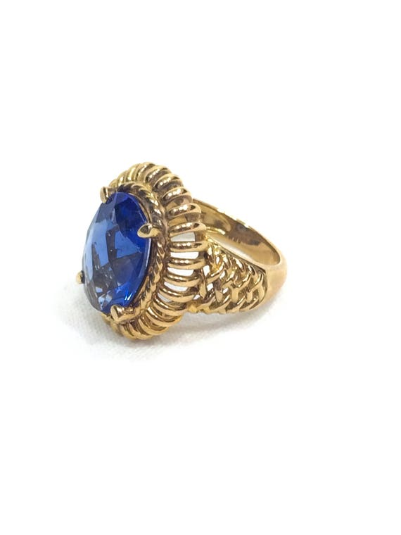 Gold & Sapphire Ring, Gold Over Sterling, Oval Simulated Sapphire, Basketweave Open Work, Pinkie Ring Size 4, Vintage Fashion Jewelry
