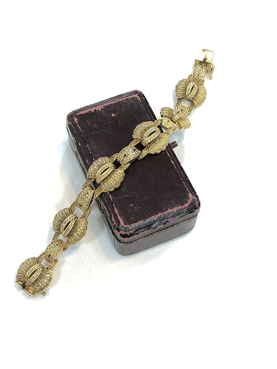 Theodor Fahrner Art Deco Bracelet, Gilded Filigree & Marcasite, Fan Shaped Links, Vermeil Sterling Silver, 1930s Signed Vintage Jewelry
