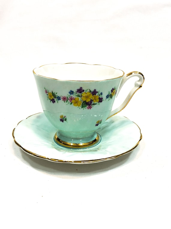 Mismatched Tea Cup Saucer, Light Mint Green Aynsley Saucer, English China Footed Cup, Yellow Purple Flowers, Shabby Chic Vintage Teacup