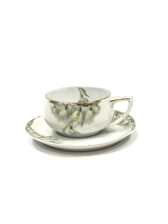 Hand Painted Rosenthal Donatello Demitasse Cup Saucer, Snowdrop Flowers, Art Nouveau Border, Green White Gold, 1920s Antique China Cup